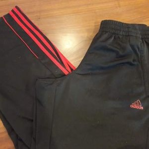 Men's sz Small Adidas athletic pants, blk/red